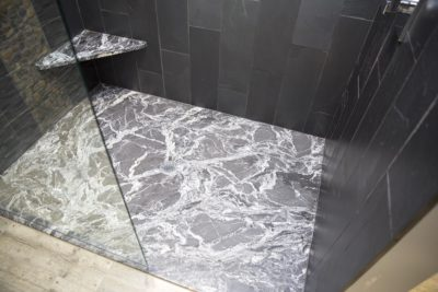 Custom granite shower floor detail