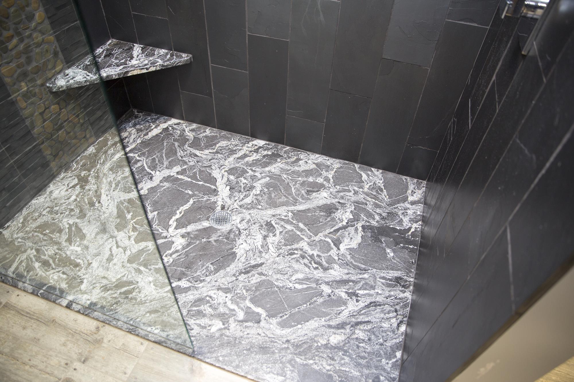 Custom granite shower floor detail